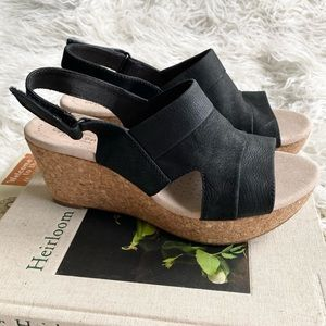 Collection by Clark's black leather cork wedges
